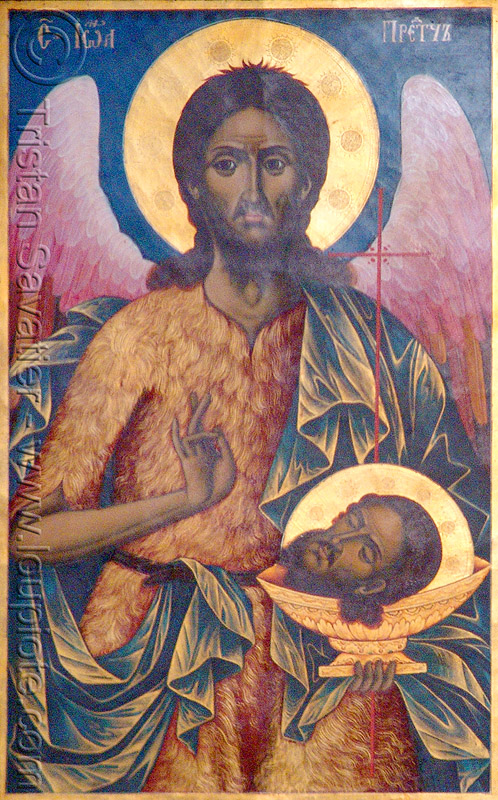 saint john the baptist - angel - severed head - byzantine art - rila - rilski monastery (bulgaria), angel wings, beheaded, byzantine, decapitated head, human head, image, john the baptizer, orthodox christian, painting, prophet, religion, rila, rilski manastir, rilski monastery, sacred art, saint john the baptist, severed head, st john the baptist, yahya the baptizer, българия, рилски манастир