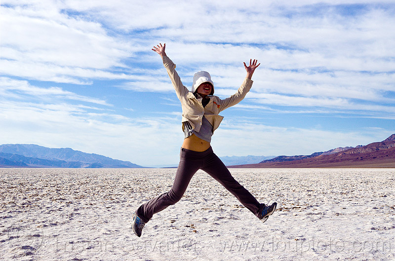 salt flats - death valley, badwater, cloudy, death valley, dry lake, jump, jumper, jumpshot, rock salt, salt flats, salt lake, woman