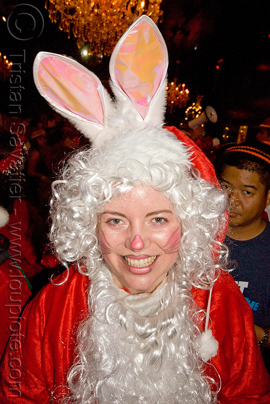 santa bunny - santacon 2009 - santa claus convention (san francisco), christmas, costume, rabbit ears, red, santa claus, santacon, santarchy, santas, the triple crown, woman
