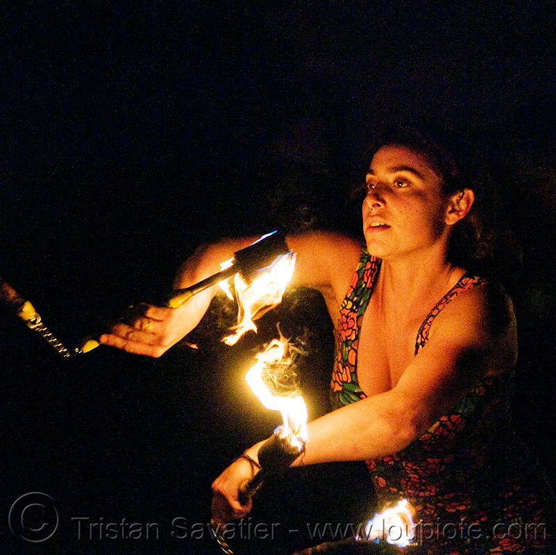 sarah with fire nunchaku, fire dancer, fire dancing, fire nunchaku, fire performer, fire spinning, flames, night, sarah, woman