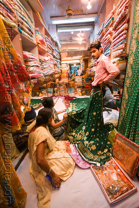 sari shop - delhi (india), cloth, delhi, merchant, night, sarees, saris, shop, store, street, vendor