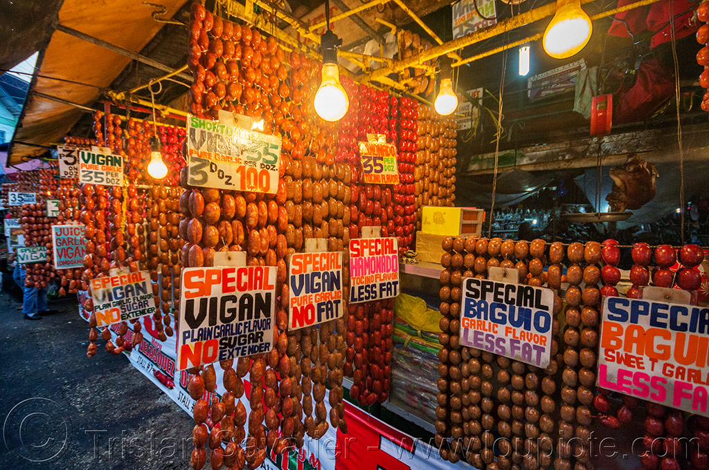 sausage links shops - baguio (philippines), baguio, links, market, philippines, sausages, shop, stall