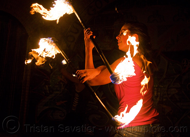 savanna spinning fire staffs, double staff, fire dancer, fire dancing, fire performer, fire spinning, fire staffs, fire staves, night, savanna, spinning fire, woman