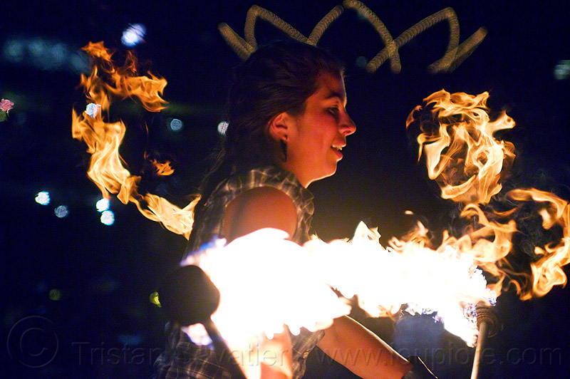 savanna spinning fire staffs, double staff, fire dancer, fire dancing, fire performer, fire spinning, fire staves, flame, night, people, woman