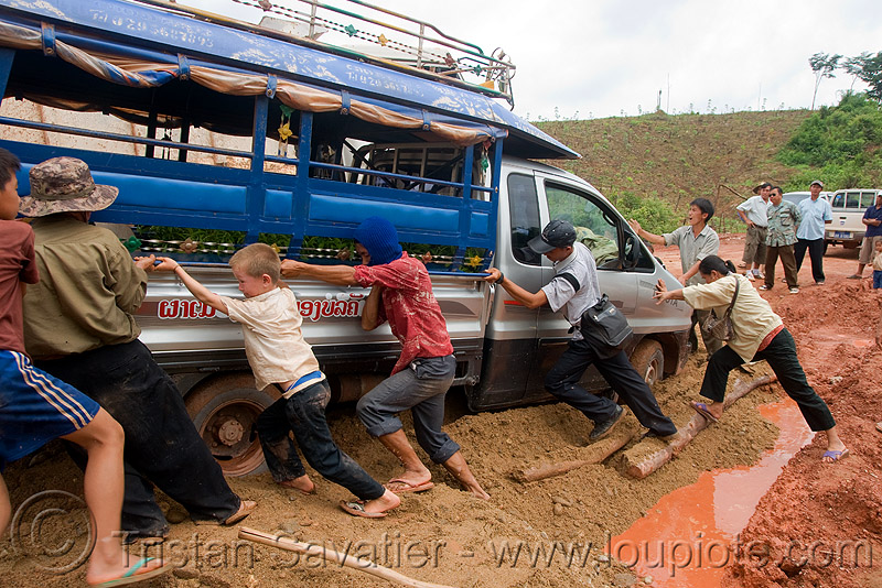 sawngthaew truck stuck in mud (laos), lorry, men, people, pushing, road, ruts, songthaew, tracks