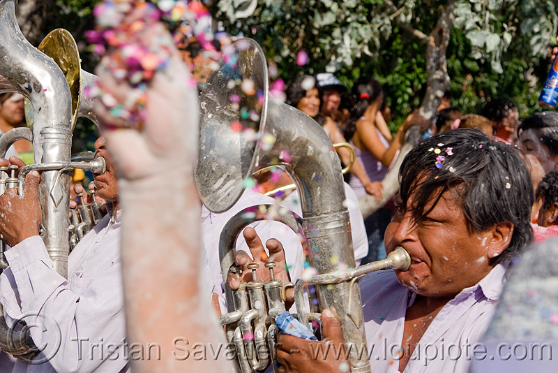 saxhorn player - banda rey imperial from potosi - carnaval - carnival in jujuy capital (argentina), andean carnival, marching band, noroeste argentino, people, san salvador de jujuy
