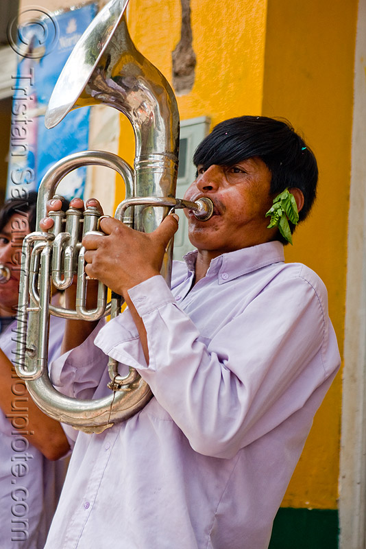 saxhorn player, andean carnival, banda rey imperial, carnaval, jujuy capital, man, marching band, noroeste argentino, people, san salvador de jujuy