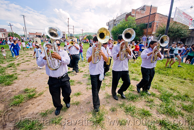 saxhorn players, andean carnival, banda rey imperial, carnaval, four, jujuy, jujuy capital, marching band, men, noroeste argentino, people, san salvador de jujuy