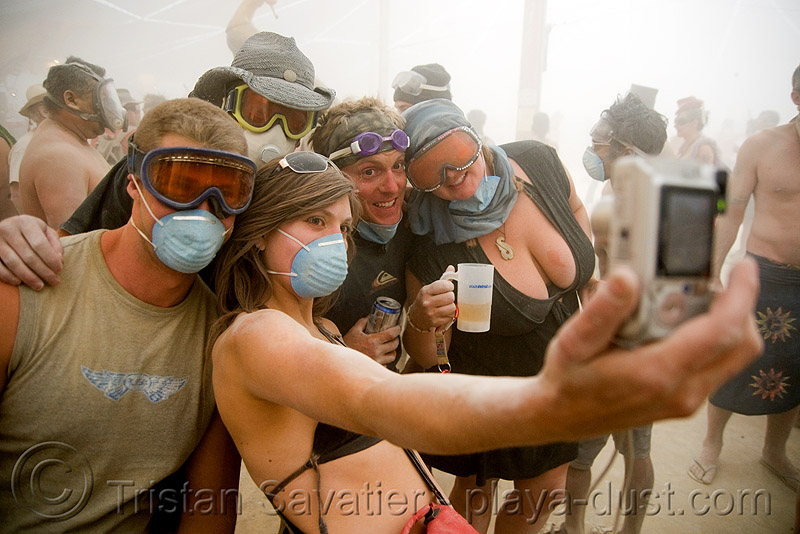 say cheese - burning man 2008, camera, center camp, dust masks, goggles, people, photo, photography, surgical masks