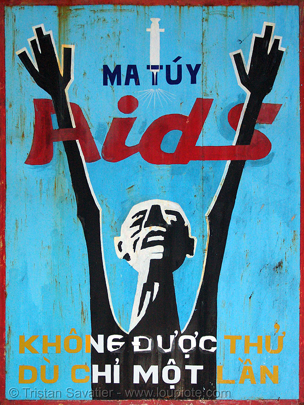 say no to drugs and AIDS - vietnam, blue, red, sign