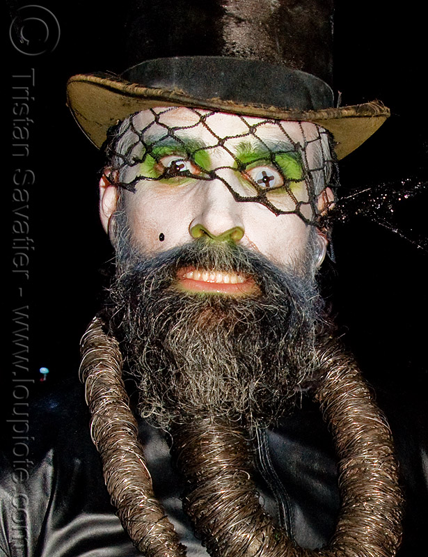 scary contact lenses, beard, color contact lenses, contacts, costume, ghostship 2008, halloween, man, rave party, space cowboys, special effects contact lenses, steven raspa, stovepipe hat, theatrical contact lenses, veil