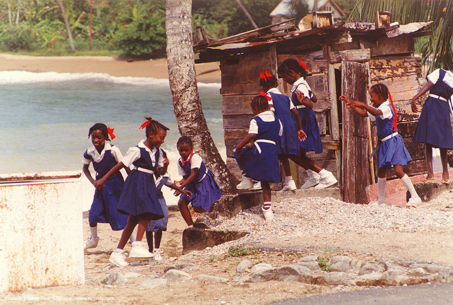 tobago, black children, black kids, parlatuvier, people, school, school girls