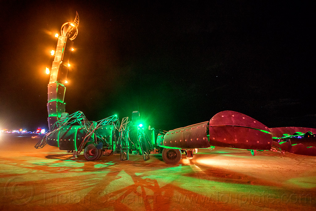 scorpion art car at night - burning man 2015, burning man, claws, glowing, night, scorpion art car, tail