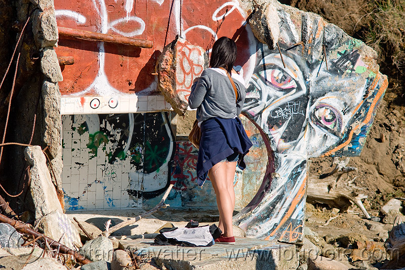 graffiti artist, abandoned, chau, concrete, lands end, people, ruins, urban exploration, woman