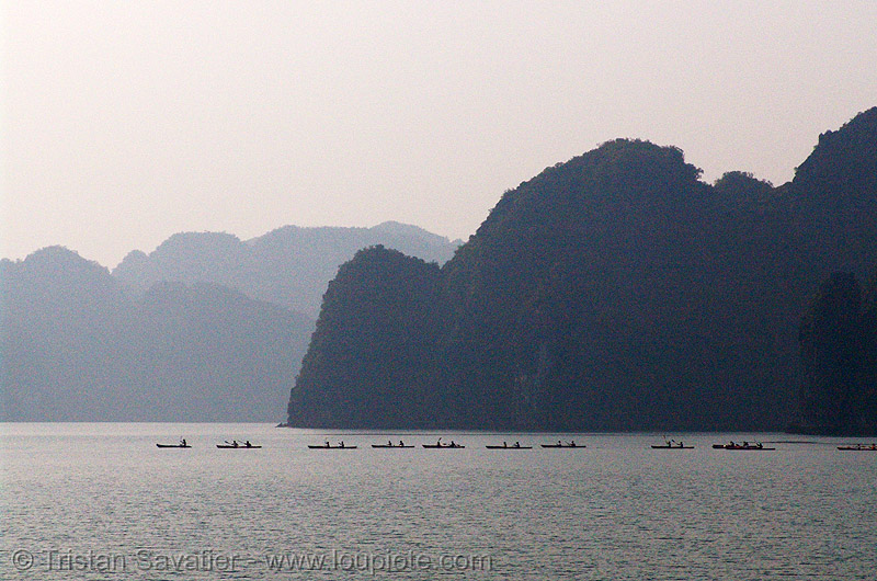 sea kayaks in halong bay - vietnam, boats, canoës, cat ba island, cát bà, halong bay, kayakers, kayaks, paddle, paddling, sailing, sea canoes, tourists, vietnam