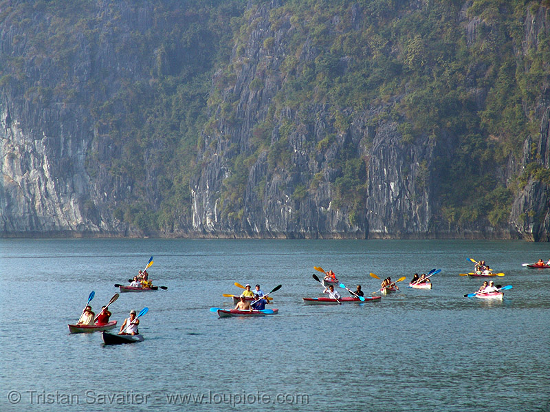 sea kayaks in halong bay - vietnam, boats, canoës, cat ba island, cliff, cát bà, halong bay, kayakers, kayaks, paddle, paddling, sailing, sea canoes, tourists, vietnam