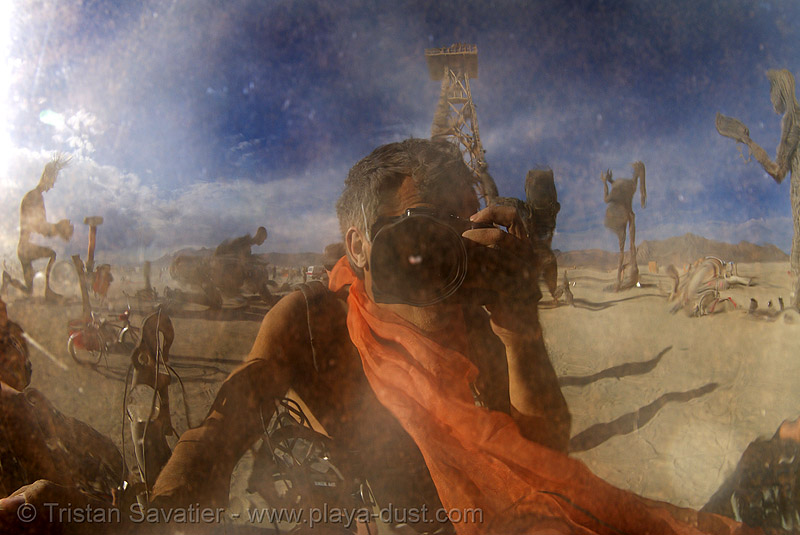 self-portrait & crude awakening - burning man 2007, burning man, sculpture, self portrait, selfie