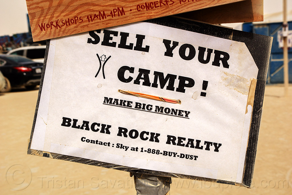 sell your camp - burning man 2016, burning man, sign