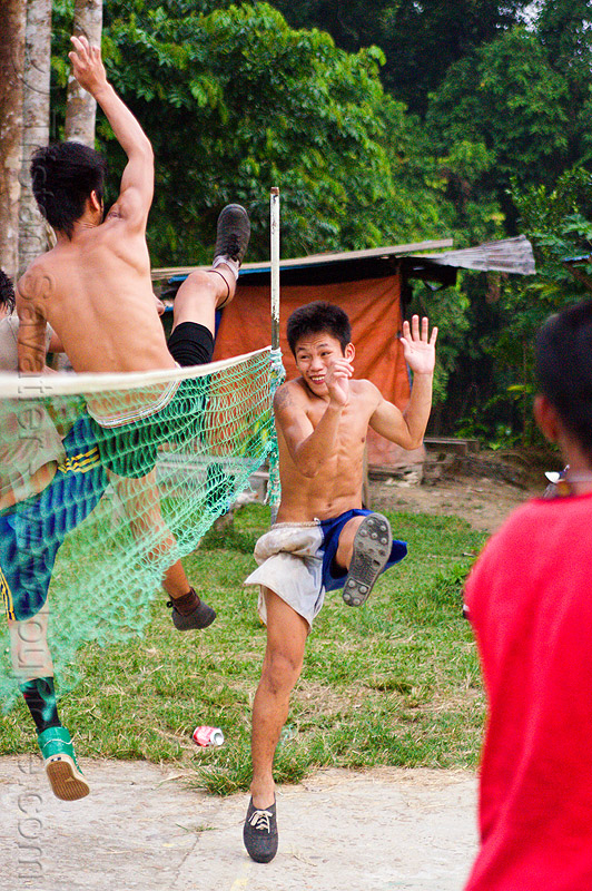 sepak raga players, ball game, gunung mulu national park, kick volleyball, men, net, panan, penan people, player, playing, sepak raga, sepak takraw, sport