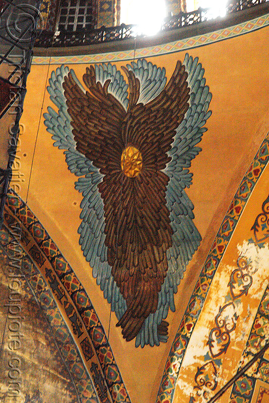 seraphim angel painting - aya sofya (istanbul), architecture, aya sofya, byzantine, church, feathers, fesco, hagia sophia, inside, interior, islam, mosque, orthodox christian, painting, pendentive, religion, sacred art, seraph, seraphim angel, wings