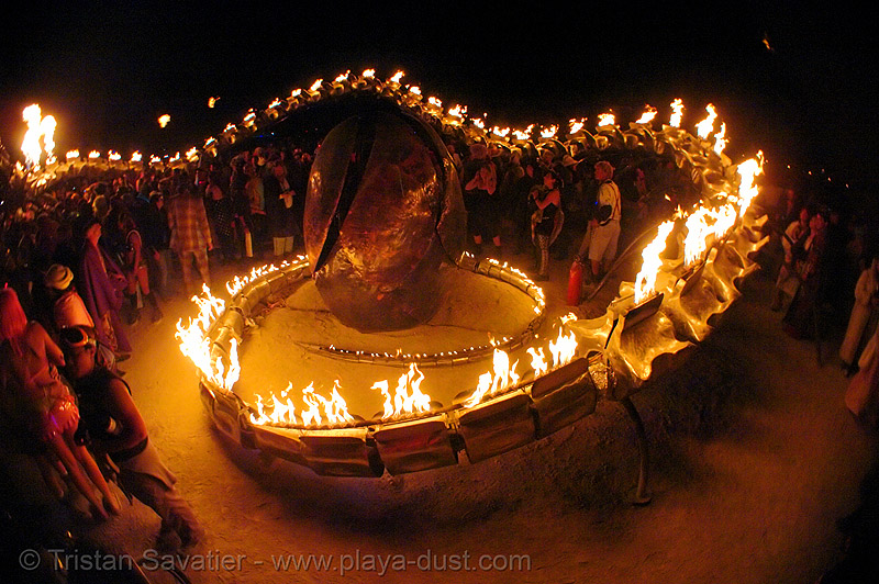 serpent mother's egg - giant snake skeleton fire sculpture - burning-man 2006, art installation, burning man, fire, flames, flaming lotus girls, giant, night, sculpture, serpent mother, skeleton, snake