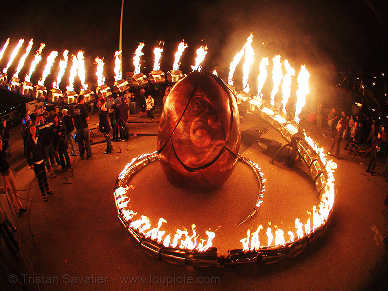 serpent mother's egg - giant snake skeleton sculpture - crucible fire arts festival 2007 (oakland, california), art, burning, fire art, fisheye, flames, flaming lotus girls, spiral, the crucible