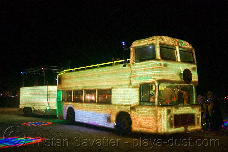 shagadelica, the glowing color-morphing fuzzy double-decker  bus - burning man 2008, art car, bristol vr, british bus, burning man, double decker bus, double-decker, furry, fuzzy, glowing, mutant vehicles, night, shagadelica