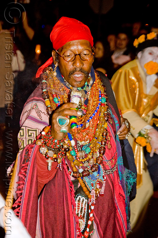 shaman burning sage - dia de los muertos - halloween (san francisco), beads, costume, day of the dead, dia de los muertos, halloween, man, necklaces, night, sage, shaman