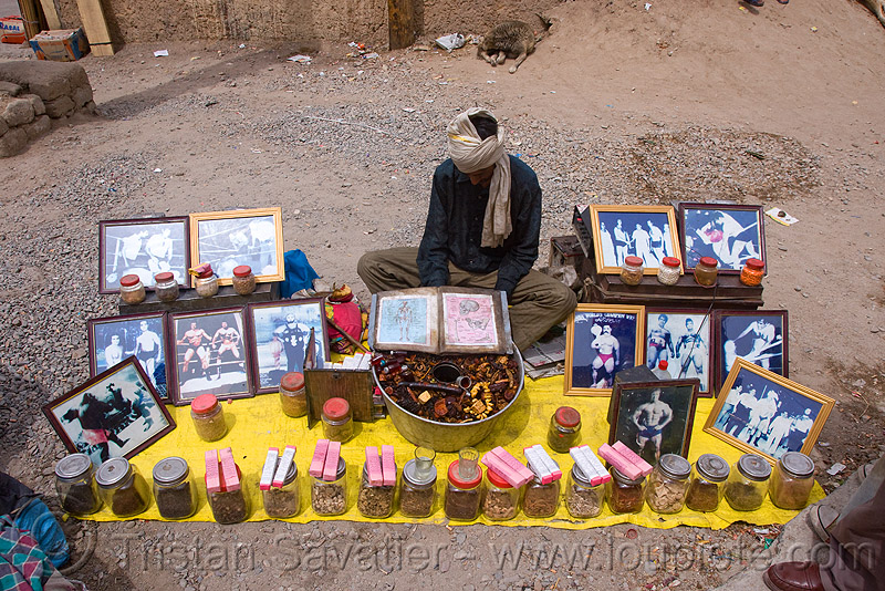 shaman - medicine man - street vendor - leh (india), frames, jars, ladakh, market, people, लेह