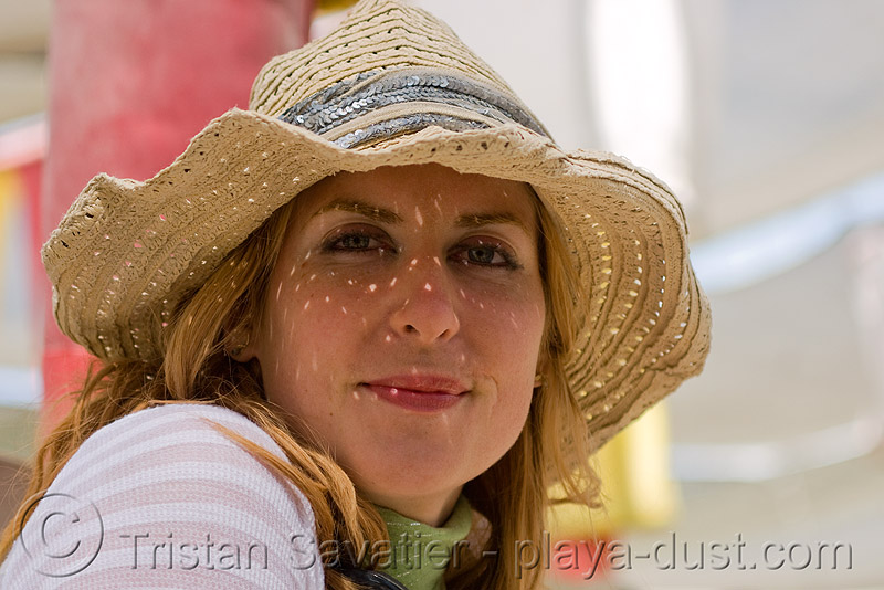 shaye - burning man 2008, burning man, shaye, straw hat, woman