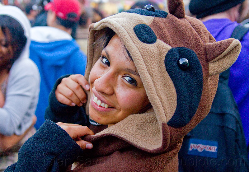 shiny black eyes, costume, festival, hood, how weird festival, jessica, native american, people, raccoon costume, raccoon suit, shiny eyes, woman