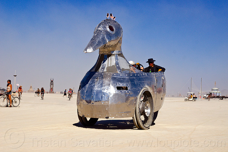 shiny duck art car - burning man 2012, burning man, duck art car, metal, shiny, tricycle, trike