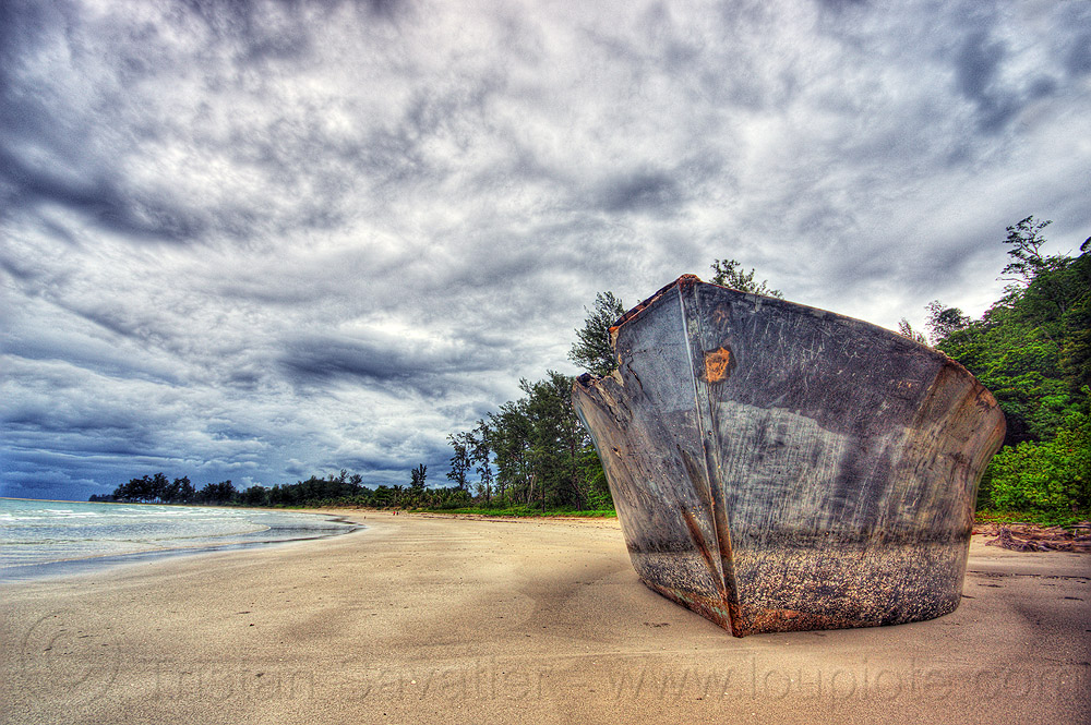 shipwreck on the beach, boat, bow, clouds, cloudy, kelambu beach, rain forest, sand, seashore, ship, shipwreck, shore, vessel