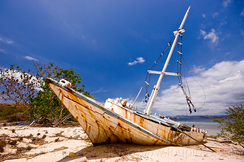 shipwreck on beach, beached, boat, flores, mast, rusted, rusty, sand, seashore, ship, shore, wooden boat, wreck