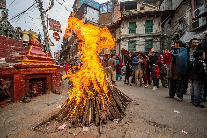 shivaratri bonfire burning in the street in kathmandu (nepal), festival, fire, flames, hinduism, maha shivaratri, people, shivaratri fire, wood