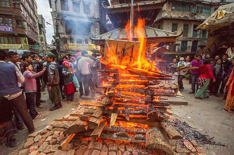 shivaratri fire near temple in the street of kathmandu (nepal), bonfire, burning, festival, flames, hinduism, maha shivaratri, people, wood