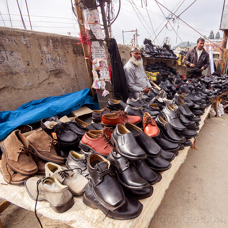 shoe seller in street market (india), darjeeling, men, merchant, people, shoes, shop, stall, store, vendor