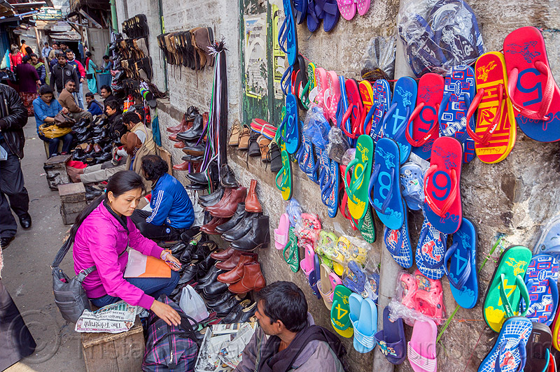 shoe sellers stalls in street market - darjeeling (india), darjeeling, india, shoes, stalls, street seller, vendors