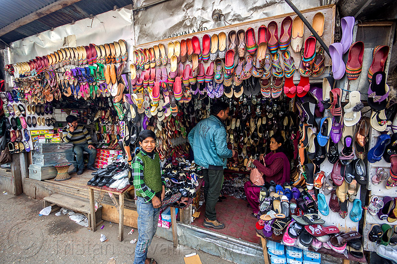 shoe stores display - darjeeling (india), merchant, people, selling, shoes, shop, store, vendor