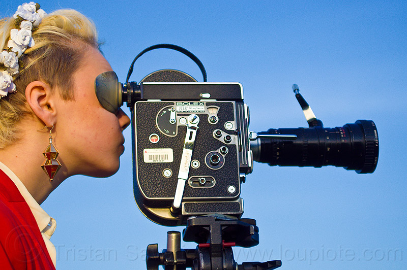 shooting a movie with a bolex 16mm film camera, 16mm camera, blonde, camera operator, dolores park, film making, hannah, motion picture camera, movie camera, people, woman