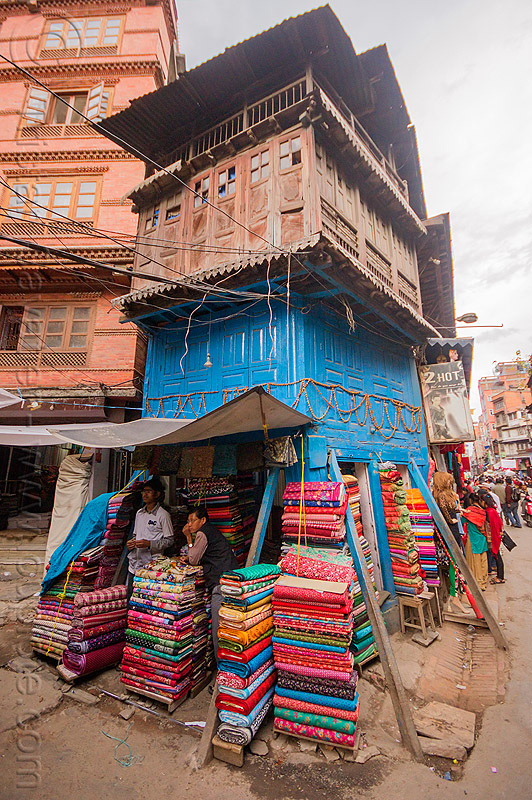 shop in small blue house - kathmandu (nepal), cloth, people, store, street