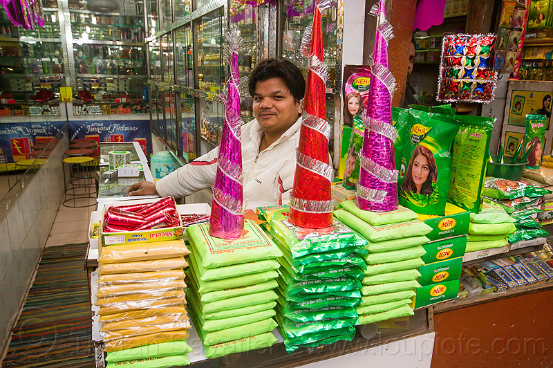 shop selling herbal mehndi (delhi), cones, delhi, dye, green bags, henna paste, herbal mehndi, india, man, merchant, selling, shop, store, supplies, vendor