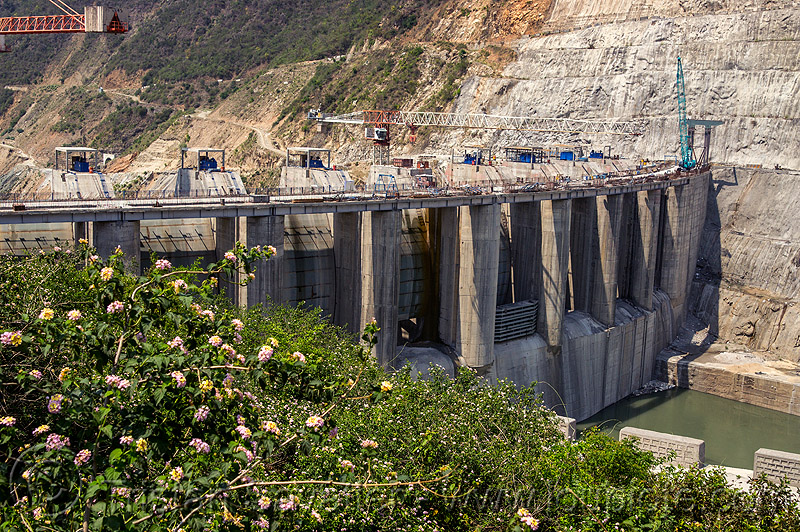 shrinagar dam construction (india), alaknanda river, alaknanda valley, hydro electric, infrastructure, tainter gates