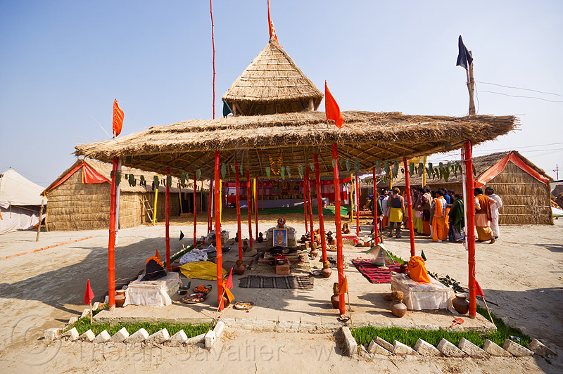 shrines in an ashram at kumbh mela 2013 (india), altars, ashram, hindu shrine, hinduism, kumbha mela, maha kumbh mela, shrines