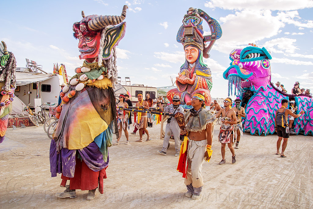順風耳 - shunfeng er - mazu procession - burning man 2016, burning man, chinese dragon art car, giant puppet, mazu camp, sculpture, shunfeng er, 順風耳