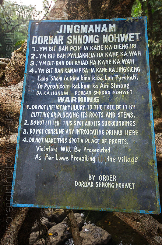 sign on living root bridge - mawlynnong (india), footbridge, wahthyllong