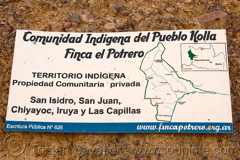 sign showing the indigenous communities near iruya (argentina), noroeste argentino, quebrada de humahuaca, quechua, trekking, villages