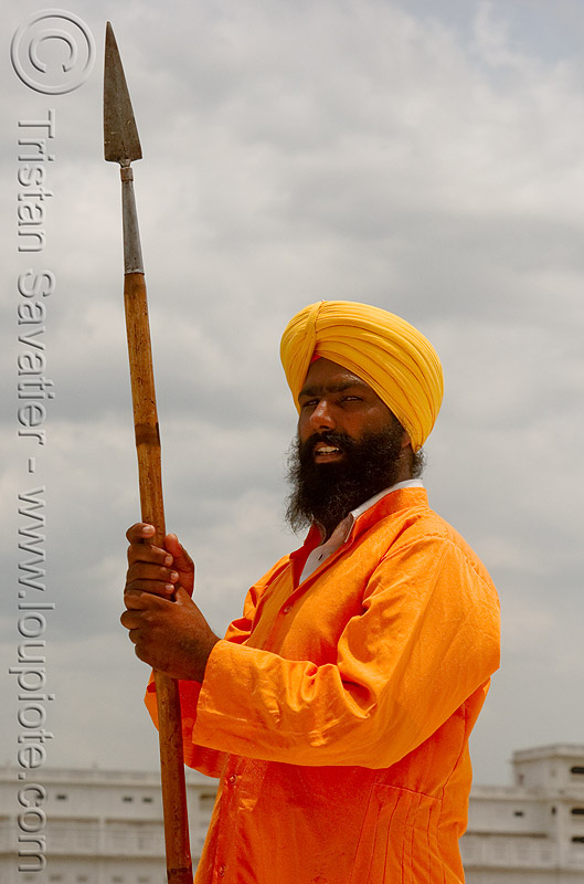 sikh guard with spear at the golden temple - amritsar (india), amritsar, golden temple, guard, guardian, gurdwara, man, punjab, sikh, sikhism, spear