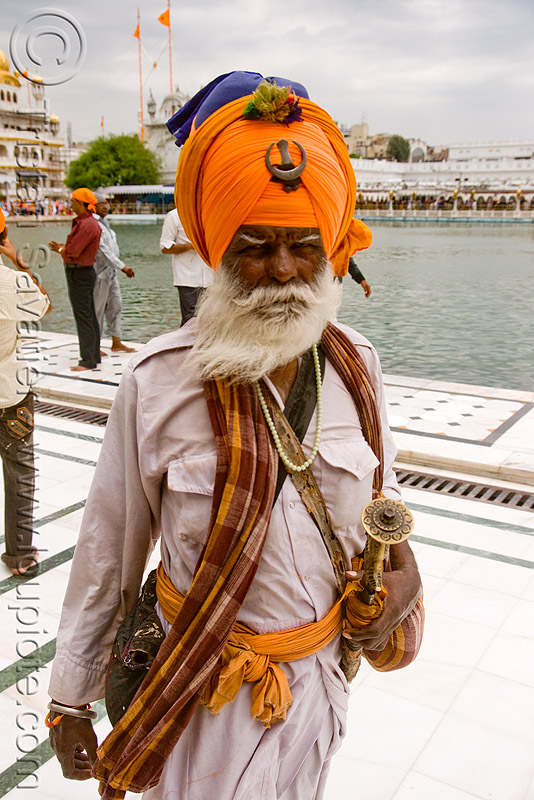 sikh warrior - nihang singh at the golden temple - amritsar (india), beard, guardian, gurdwara, man, old, old man, people, punjab, sikhism, soldier, white beard