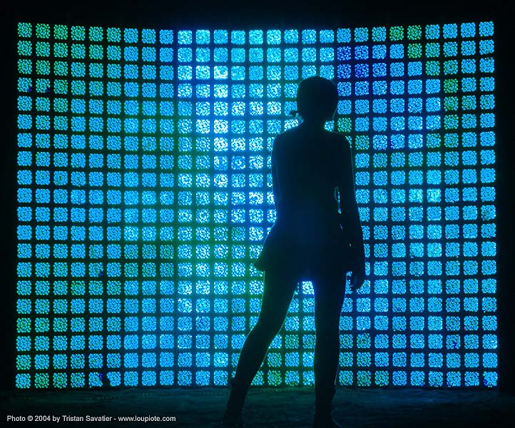 light wall - burning-man 2004, art, art installation, backlight, blue, burning man, night, shadow, woman
